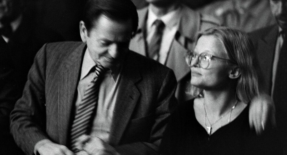 This file photo dated 1984 taken at unknown location, shows Swedish former Prime Minister Olof Palme (L), who was assassinated in a central Stockholm street in February 1986, and Swedish Foreign Minister Anna Lindh who was stabbed 10 September 2003, and died from her injuries early Thursday morning 11 September