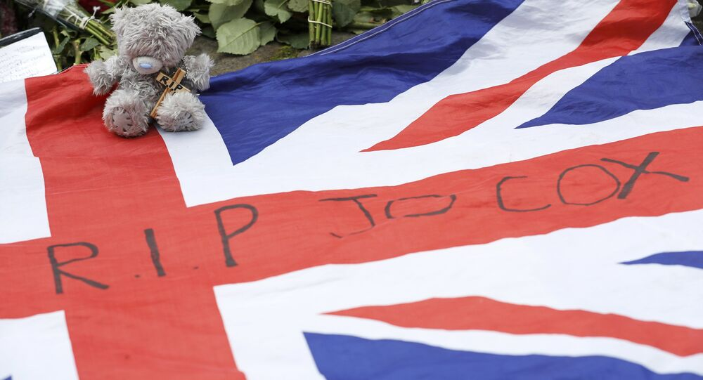 A union flag is left in tribute to Labour Member of Parliament Jo Cox in Birstal near Leeds, Britain June 17, 2016.