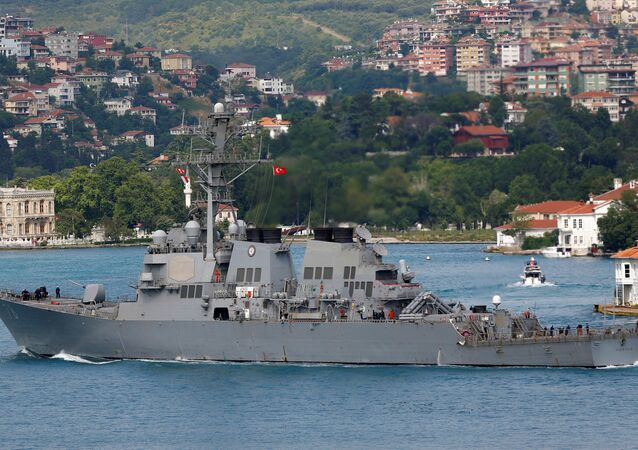 U.S. Navy guided-missile destroyer USS Porter sets sail in the Bosphorus, on its way to the Black Sea in Istanbul.