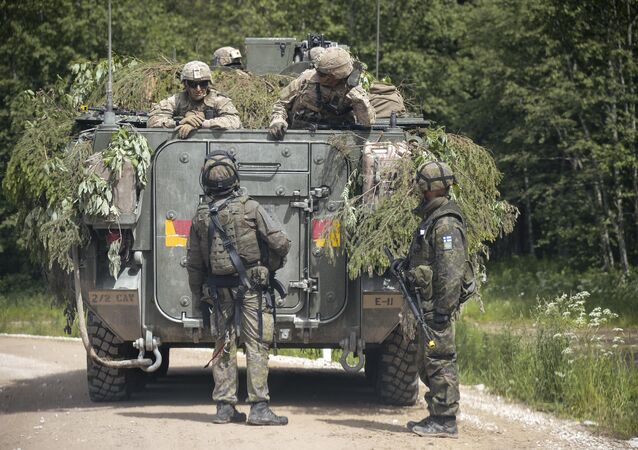 NATO troops at a range in Estonia participating in the Saber Strike-2016 exercises, June 2016.