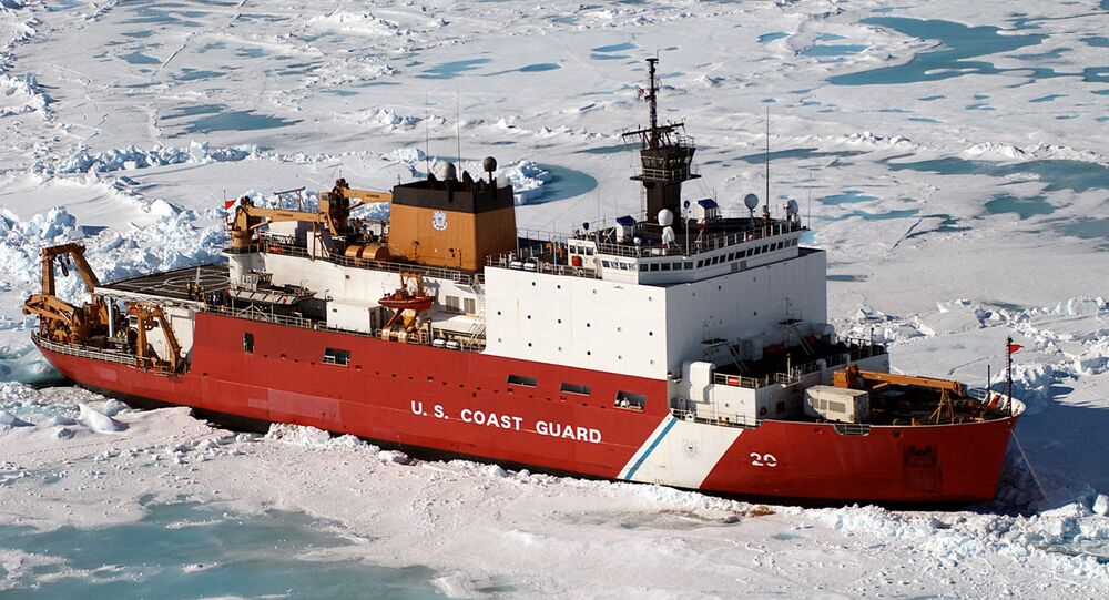U.S. Coast Guard Cutter Healy (WAGB-20) sits approximately 100 miles north of Barrow, Alaska, in order to conduct scientific ice research