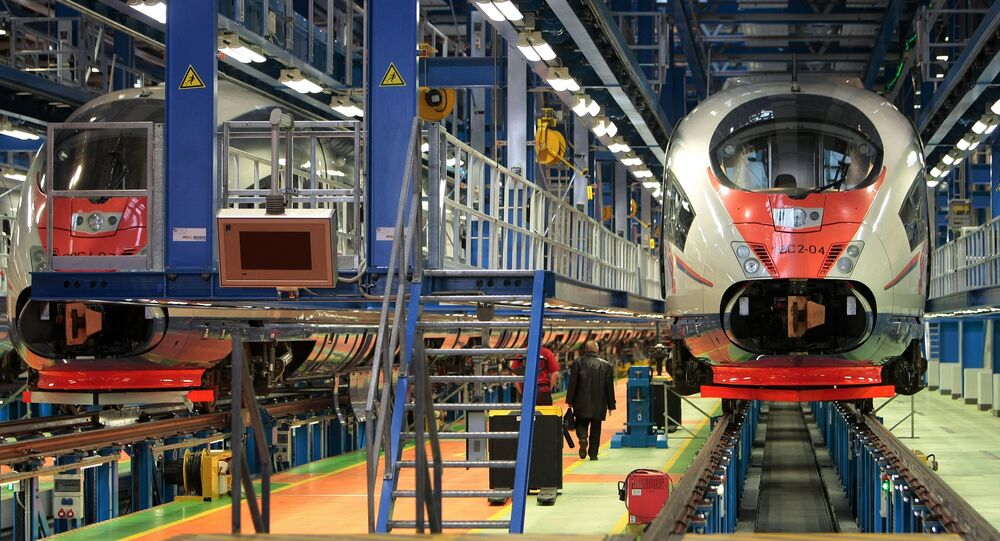 Motor train unit repair and servicing shed for Sapsan bullet trains