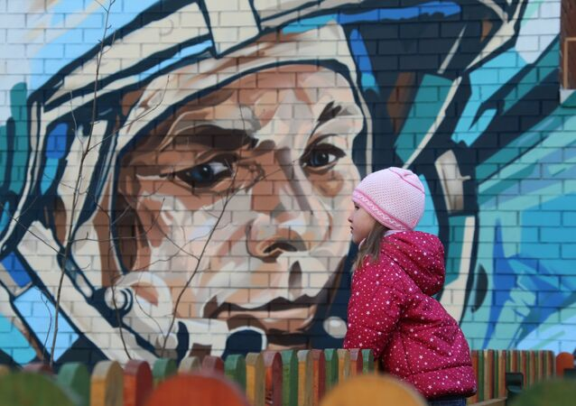 A graffiti portrait of cosmonaut Yuri Gagarin on Cosmonauts Alley in Moscow