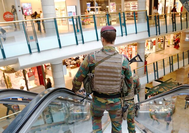Belgian soldiers patrol the shopping center City2 in central Brussels, Belgium