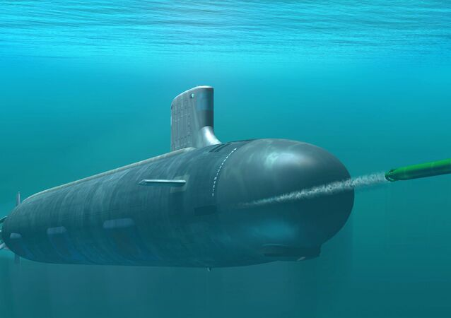 Computer-based rendering of Virginia class attack submarine