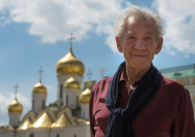 British actor Ian McKellen on the Kremlin's Cathedral Square in Moscow.