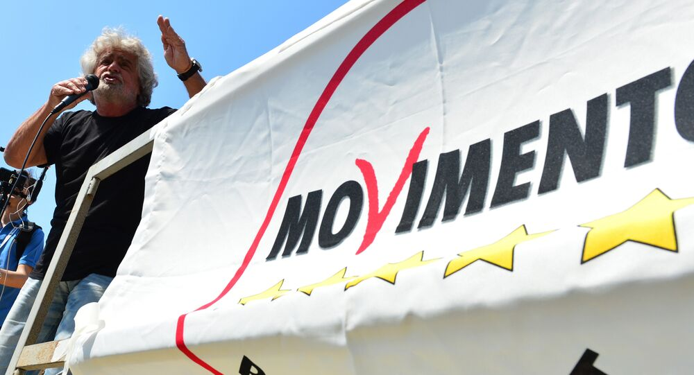 Italian protest party Five Star Movement leader Beppe Grillo speaks during a rally in Grado. (File)