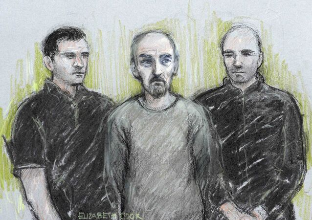 A court artist sketch by Elizabeth Cook shows Thomas Mair (C) appearing at Westminster Magistrates' Court in London, Britain June 18, 2016.