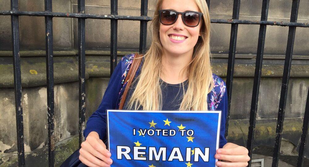 A voter in Edinburgh, Scotland.