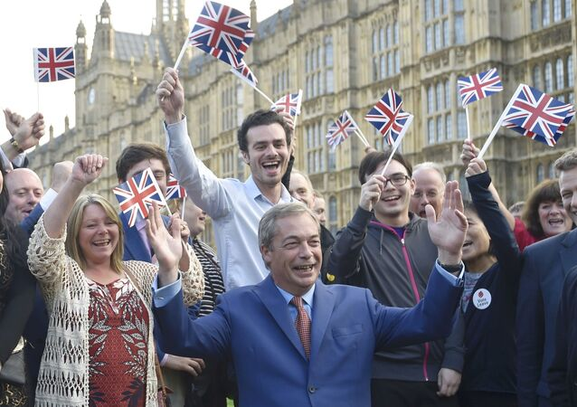 Nigel Farage, the leader of the United Kingdom Independence Party (UKIP), makes a statement after Britain voted to leave on the European Union in London, Britain, June 24, 2016