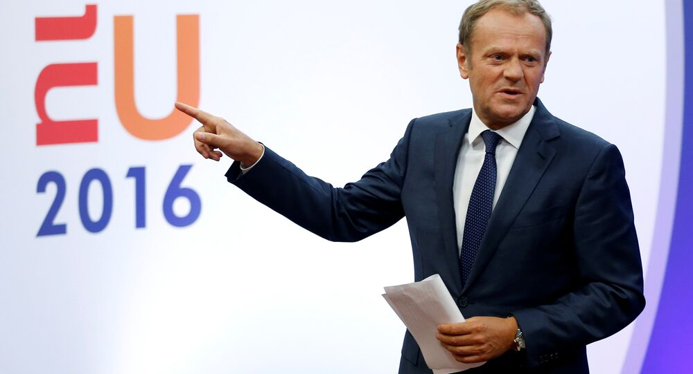 European Council President Donald Tusk gestures as he briefs the media after Britain voted to leave the bloc, in Brussels, Belgium, June 24, 2016.