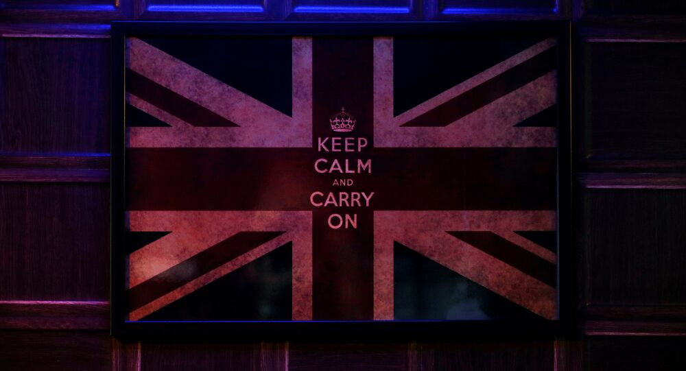 A poster of the Union Flag hangs on the wall of a British-themed bar in New Delhi, India June 24, 2016.