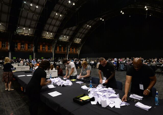 Counting votes in the UK referendum on EU membership, in Manchester