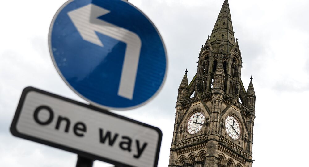 The tower of the Manchester Town Hall where the United Kingdom's European Union membership referendum results were announced