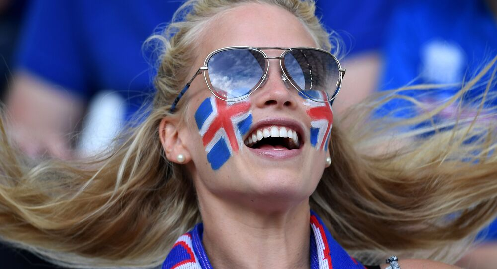 An Iceland's supporter is pictured ahead of the Euro 2016 group F football match between Iceland and Hungary at the Stade Velodrome in Marseille on June 18, 2016