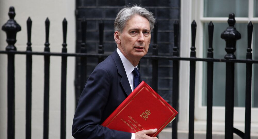 Philip Hammond arrives in 10 Downing Street in central London on May 13, 2016