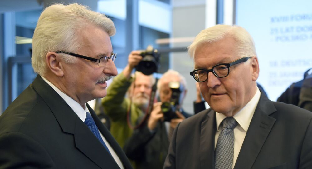 German Foreign Minister Frank-Walter Steinmeier (R) talks with his Polish counterpart Witold Waszczykowski during the Polish-German forum on April 19, 2016 in Warsaw