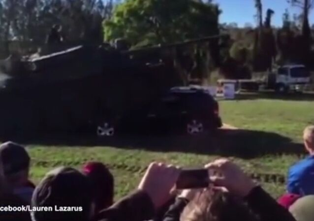 Watch The Moment A Dodge Journey Gets Run Over By A Tank