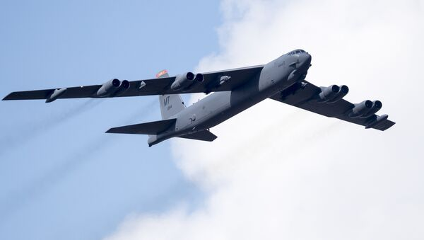 A U.S. Air Force B-52 bomber flies over Training Range in Pabrade during a military exercise 'Iron Wolf 2016' some 60km.(38 miles) north of the capital Vilnius, Lithuania, Thursday, June 16, 2016 - Sputnik International