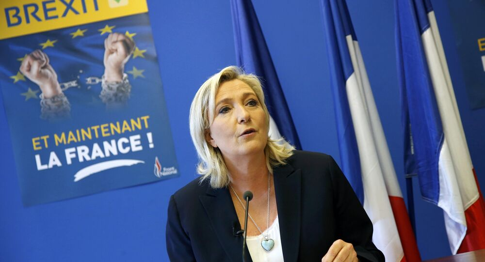 Marine Le Pen, France's National Front political party leader, speaks during a news conference at the FN party headquarters in Nanterre near Paris after Britain's referendum vote to leave the European Union, France, June 24, 2016