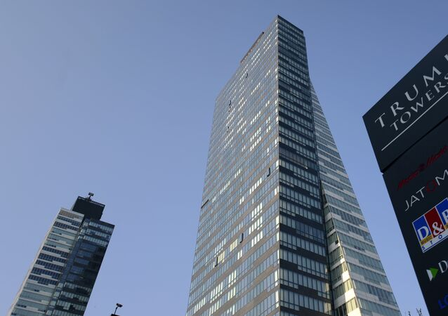 A photo taken on July 30, 2015 shows the Trump Towers building in Istanbul