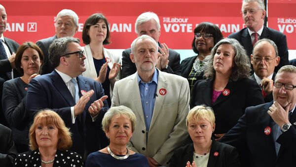 Leader of the British opposition Labour Party, Jeremy Corbyn (C), smiles as he poses with members of the shadow cabinet including Deputy leader Tom Watson (CL) and Shadow Health Secretary Heidi Alexander (CR), Labour Party and TUC members during a photocall for the 'Labour In for Britain' campaign in London, on June 14, 2016 calling for a remain vote in the EU referendum - Sputnik International