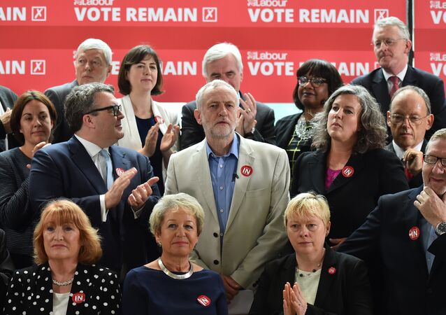 Leader of the British opposition Labour Party, Jeremy Corbyn (C), smiles as he poses with members of the shadow cabinet including Deputy leader Tom Watson (CL) and Shadow Health Secretary Heidi Alexander (CR), Labour Party and TUC members during a photocall for the 'Labour In for Britain' campaign in London, on June 14, 2016 calling for a remain vote in the EU referendum