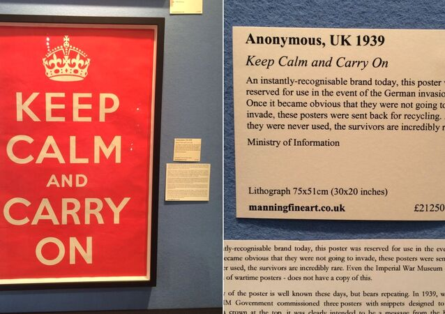 Keep Calm and Carry on original vintage poster on sale at the Art & Antiques Fair, Olympia in London.