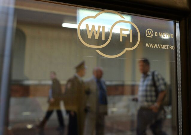 A sticker on a metro train window announces the availability of Wi-Fi connection at the newly-opened Kotelniki station of the Moscow Metro