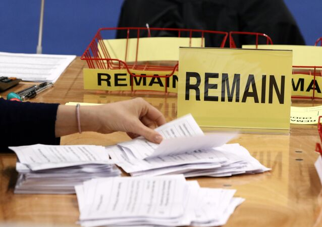 Ballots are counted at the Titanic Exhibition centre, the Belfast count centre, on June 23, 2016 after polls closed in the referendum on whether the UK will remain or stay in the European Union (EU)