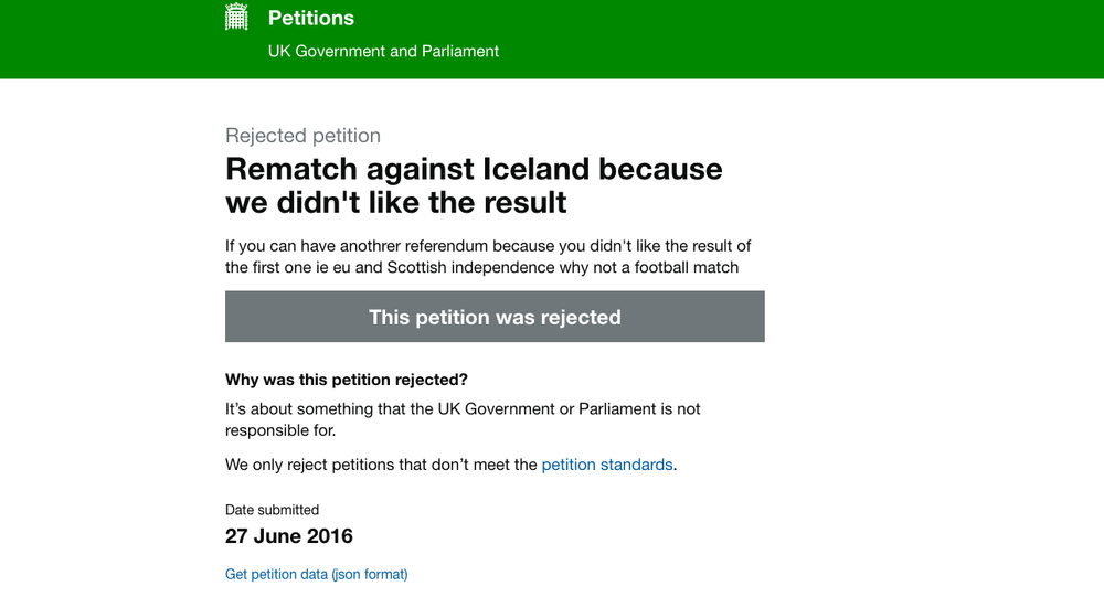 Petition to Replay England's European Football Championship Match Against Iceland.
