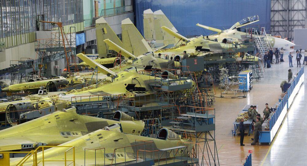 Assembly of Russian Sukhoi Su-30 fighters at the Irkutsk Aircraft Plant (Irkut Corporation).