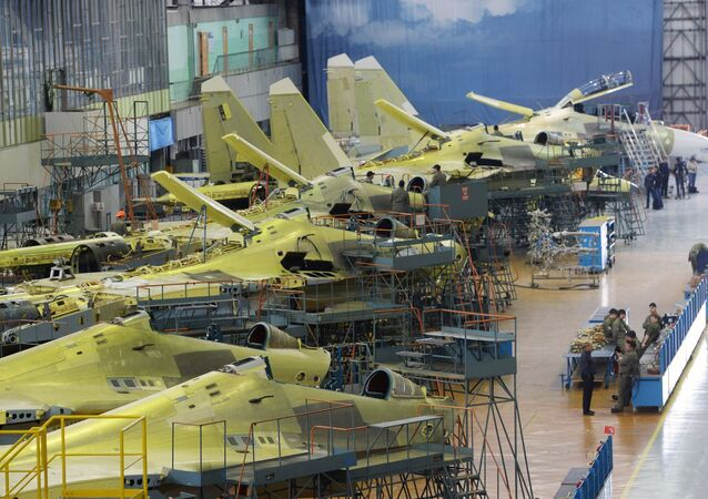 Assembly of Russian Sukhoi Su-30 fighters at the Irkutsk Aircraft Plant (Irkut Corporation).
