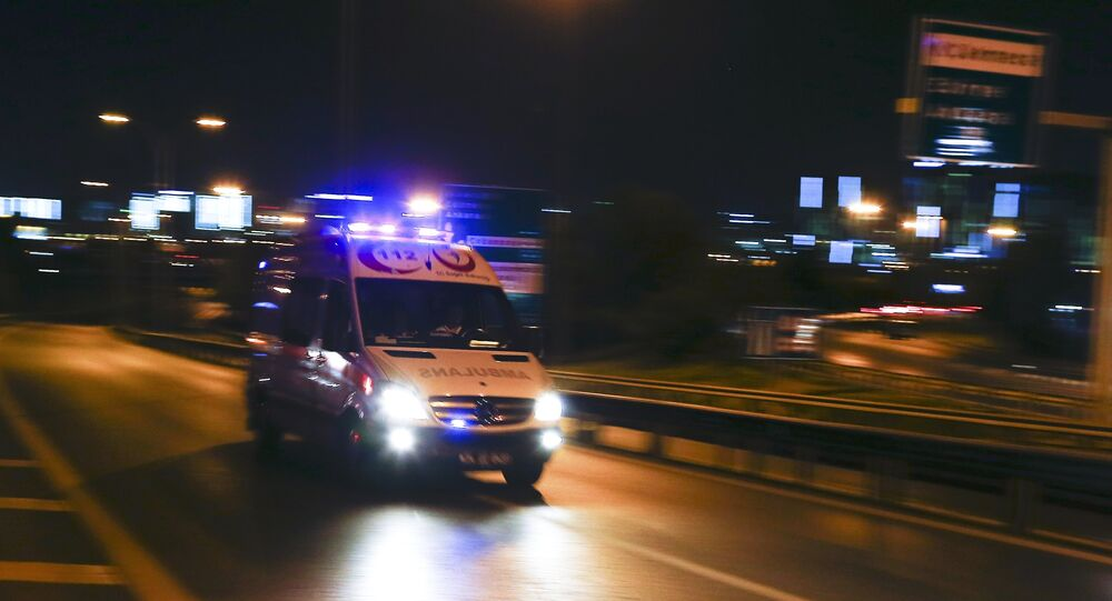 An ambulance arrives at the Ataturk airport in Istanbul