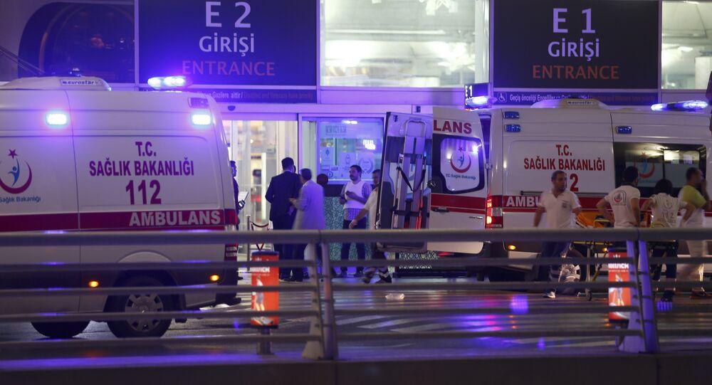 Ambulance cars arrive at Turkey's largest airport, Istanbul Ataturk, Turkey, following a blast June 28, 2016.