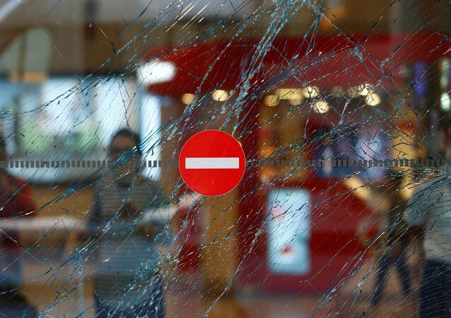 A broken window is seen at Turkey's largest airport, Istanbul Ataturk, Turkey, following yesterday's blasts June 29, 2016.