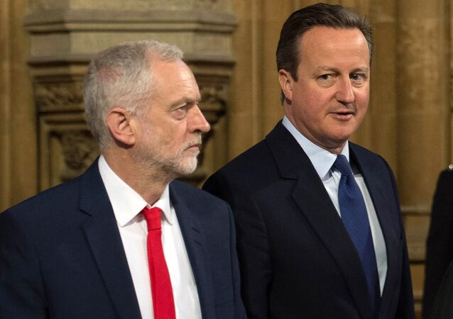 Britain's Prime Minister David Cameron (R) and Opposition Labour Party leader Jeremy Corbyn. (File)