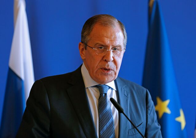 Russian Foreign Minister Sergei Lavrov attends a news conference with French Foreign Minister Jean-Marc Ayrault (not seen) following their meeting at the Quai D'Orsay in Paris, France, June 29, 2016.