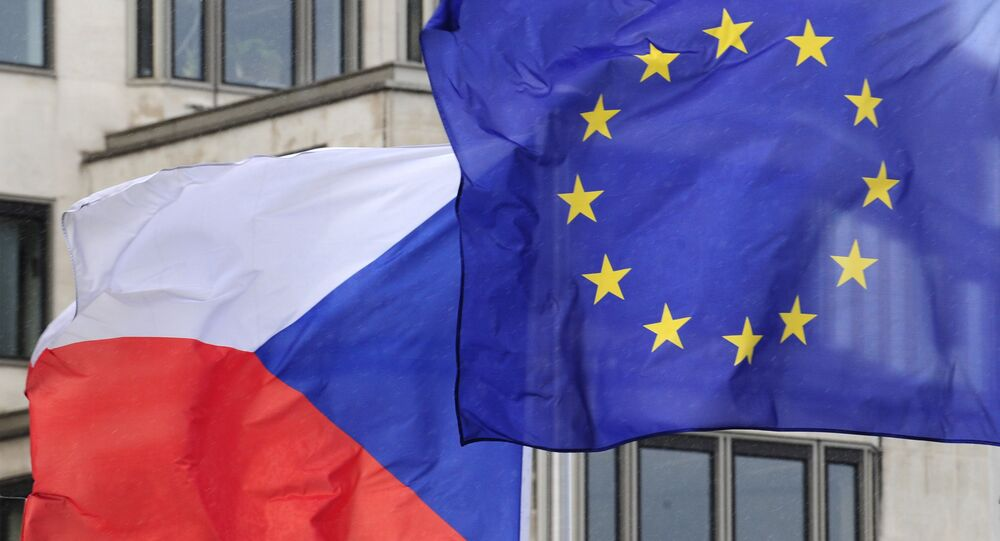 Czech and European flags. (File)