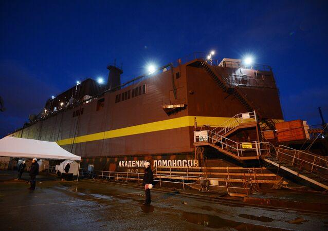 The Academician Lomonosov floating power unit seen in the Baltiysky Zavod shipyard, St.Petersburg. (File)