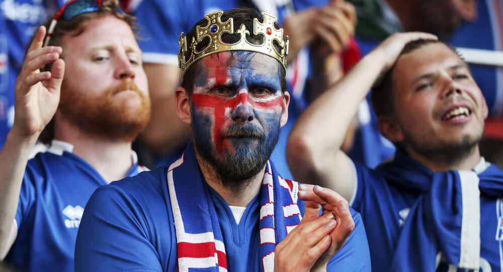 Iceland fans at the UEFA Euro 2016 round of 16 match between the national teams of England and Iceland