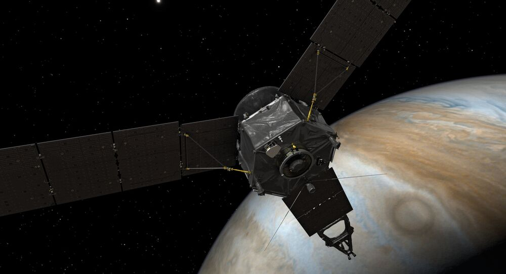 Artist's concept of the Juno spacecraft at Jupiter