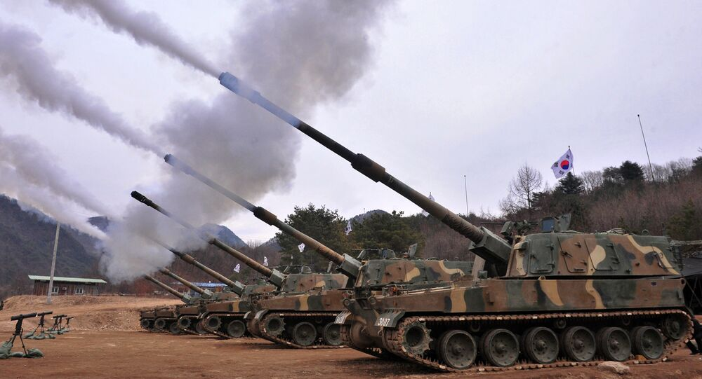 South Korean army K9 Thunder 155mm self-propelled Howitzers (File)