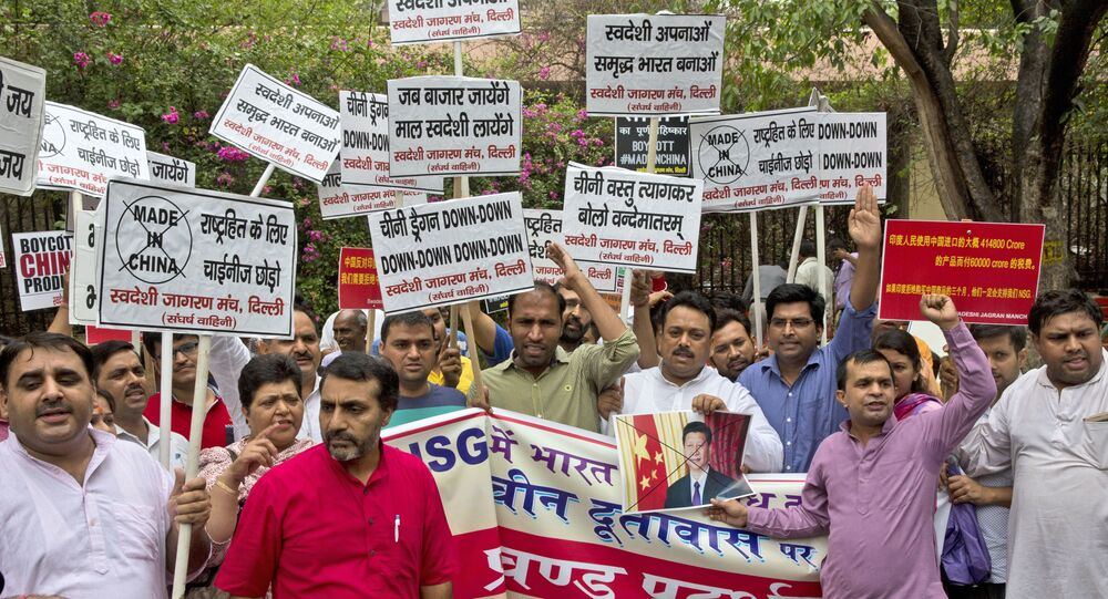 The protestors accused China of blocking India's entry into the Nuclear Suppliers Group