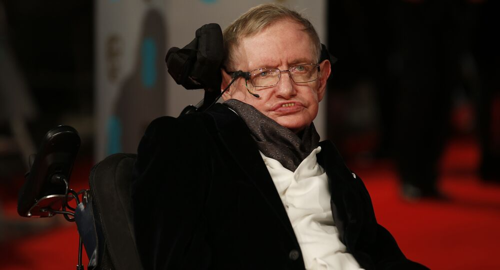 British scientist Stephen Hawking arrives for the BAFTA British Academy Film Awards at the Royal Opera House in London on February 8, 2015.