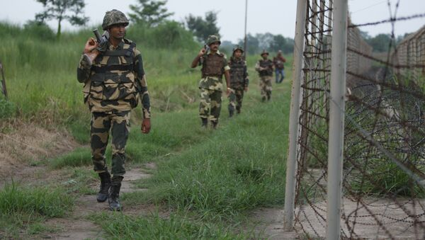Indian Border Security Force (BSF) soldiers patrol along the Pargwal area of India-Pakistan international border in Akhnoor, Jammu and Kashmir, India (File) - Sputnik International