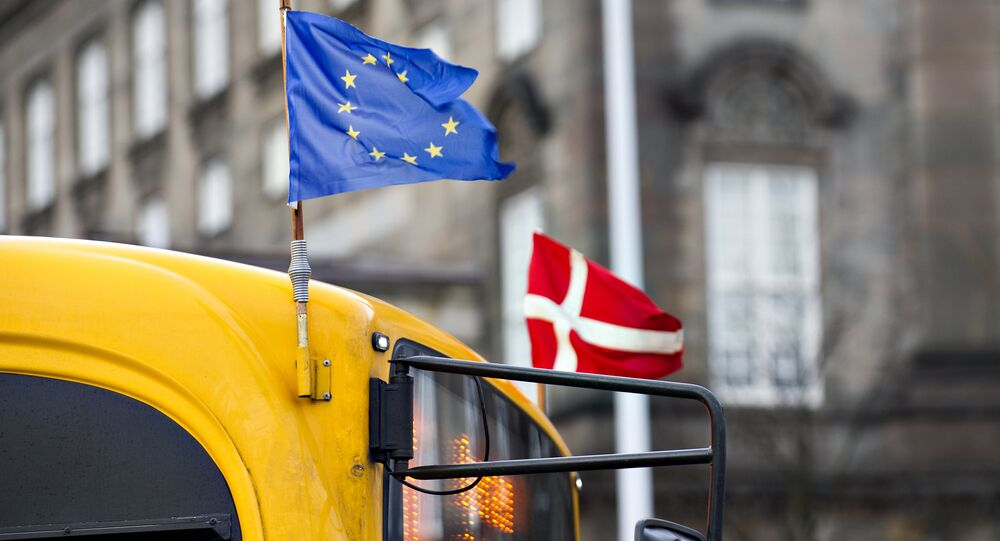 European flag and a Danish flag flying on a bus in Copenhagen (File)