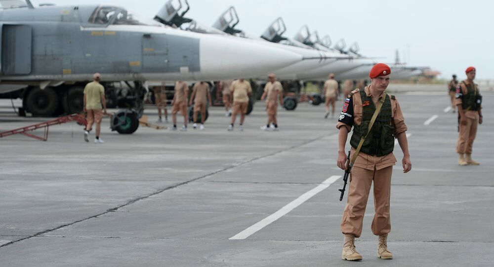 Russian servicemen at the Hmeymim airbase in Syria.