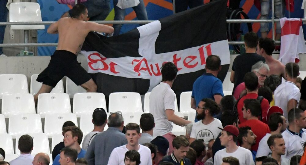 Football fans after the UEFA Euro 2016 group stage match between the English and Russian national teams