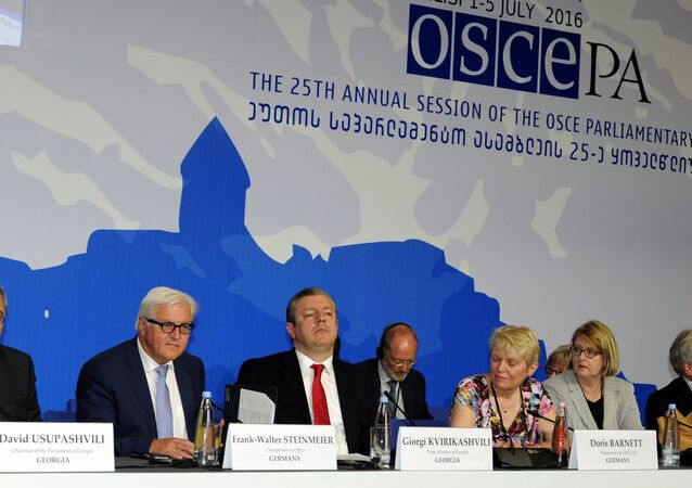 (From L) Chairman of Georgia's parliament, David Usupashvili, German Foreign Minister Frank-Walter Steinmeier, who currently chairs the Organisation for Security and Cooperation in Europe (OSCE) monitoring body, Georgia's Prime Minister, Giorgi Kvirikashvili, Treasurer of OSCE, Doris Barnett and Head of the Task Force for the 2016 German OSCE Chairmanship, Antje Leendertse attend the 25th Annual Session of the OSCE Parliamentary Assembly in Tbilisi on July 1, 2016